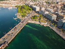 Aerial view of Leman lake -  Geneva city in Switzerland Royalty Free Stock Images