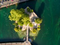 Aerial view of Leman lake -  Geneva city in Switzerland Stock Image