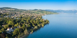 Aerial view of Leman lake -  Lausanne city in Switzerland Stock Image