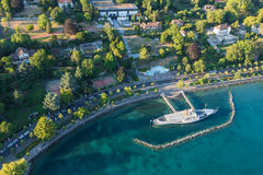 Aerial view of Leman lake -  Lausanne city in Switzerland Stock Images