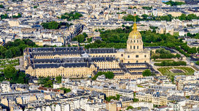 Aerial view of Les Invalides from the Eiffel Towe Royalty Free Stock Image