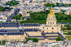 Aerial view of Les Invalides from the Eiffel Towe Stock Photography