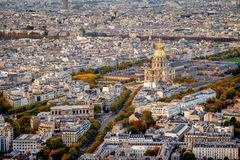 Aerial view of Les Invalides, Paris, France from Tower Montparnasse. Royalty Free Stock Photo
