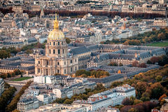 Aerial view of Les Invalides, Paris, France. Royalty Free Stock Images