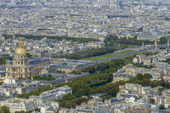 Aerial view of Les Invalides and Pont Alexandre III taken from M Royalty Free Stock Photo