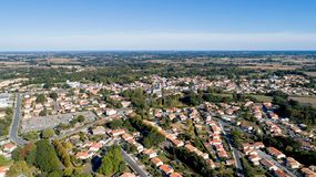 Aerial view of Les Lucs Sur Boulogne in Vendee stock images