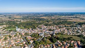 Aerial view of Les Lucs Sur Boulogne in Vendee royalty free stock photo