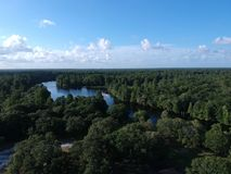 Aerial view of Lettuce park in Tampa. Aerial view of Lettuce park lake in Tampa, Florida stock photos