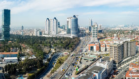 Aerial view Levent district in Istanbul, showing Buyukdere avenue and important shopping ma Royalty Free Stock Image