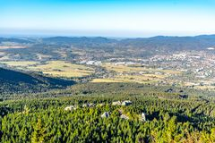 Aerial view of Liberec city and Jizera Mountains from Jested Mountain on sunny summer evening. Czech Republic stock image