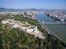 Aerial view of Liberty statue at Gellert hill in Budapest. Royalty Free Stock Photos