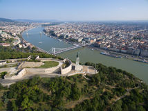 Aerial view of Liberty statue at Gellert hill in Budapest. Royalty Free Stock Photo