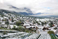 Aerial view of Liechtenstein city that is covered in snow Stock Images
