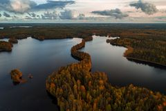 Aerial view from Liesjärvi National Park, Finland. Aerial view from Liesjärvi National Park on an autumn afternoon with sun starting to go down, Finland stock image