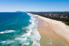 Aerial view of Lighthouse Beach, Port Macquarie. I love the 50/50 aspect of this shot Royalty Free Stock Image