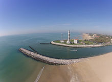 Aerial view of lighthouse with boat river, sea. Jesolo Italy Stock Image