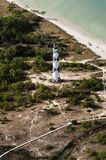 Cape lookout lighthouse view from airplane royalty free stock image