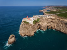 Aerial view of the lighthouse Cape St. Vincent . View of the lighthouse and cliffs at Cape St. Vincent at sunset. Continental Europe's most South-western point Royalty Free Stock Photos