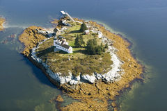 Aerial view of lighthouse on island near Acadia National Park, Maine Stock Photography