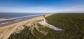 Aerial view of lighthouse La Coubre in La Tremblade, Charente Maritime. France stock photography