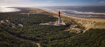 Aerial view of lighthouse La Coubre in La Tremblade, Charente Maritime royalty free stock images