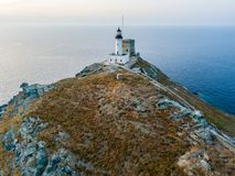 Aerial view of the Lighthouse and Tower on the island of Giraglia. Cap Corse peninsula. Corsica. France royalty free stock photos