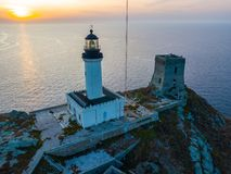 Aerial view of the Lighthouse and Tower on the island of Giraglia. Cap Corse peninsula. Corsica. France royalty free stock photography