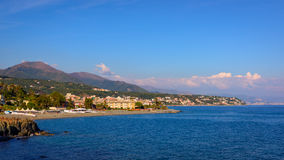 Aerial view of the Ligurian. Coast between Varazze and Cogoleto Stock Images