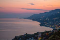 Aerial view of ligurian east coast at dusk, Genoa province, Italy. royalty free stock image