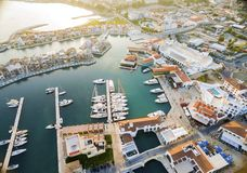 Aerial view of Limassol Marina, Cyprus. Aerial view of the beautiful Marina in Limassol city in Cyprus, the beach, boats, piers, villas and commercial area. A Stock Images