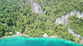 Aerial View of Limestone and Fringing Reef in Raja Ampat. A beautiful coral reef fringes a remote island in Raja Ampat, Indonesia. This unique, equatorial region stock footage
