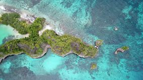 Aerial View of Limestone Island and Reef in Raja Ampat. A healthy coral reef fringes a beautiful, tropical island that surrounds a marine lake in Raja Ampat stock video