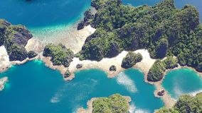 Aerial View of Limestone Islands and Reefs in Raja Ampat stock footage