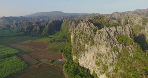Limestone mountain in Thailand stock video footage