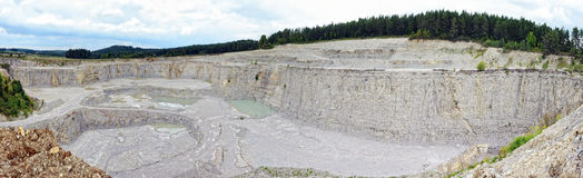 Aerial view into a limestone quarry Stock Image