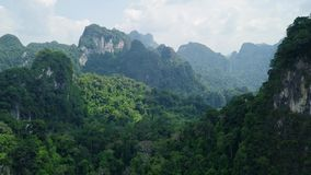 Aerial View of Limestone Rocks Covered with Lush Tropical Greenery. Top View of Mountains in Krabi and Suratthani. Top View of Limestone Rocks in Tropical stock video