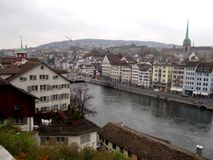 Aerial view of Limmat river in Zurich royalty free stock image
