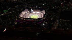 Aerial View Lincoln Financial Field Philadelphia at Night on Gameday stock footage