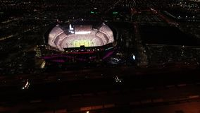 Aerial View Lincoln Financial Field Philadelphia at Night on Gameday stock video footage
