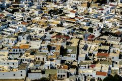 Aerial View of the Lindos royalty free stock photos