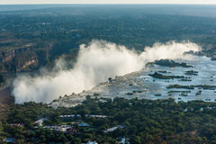 Aerial view of line of Victoria Falls Stock Image