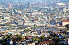 Aerial View of Linz. The Capital City of Upper Austria Royalty Free Stock Photography