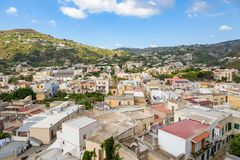 Rooftops of Lipari town. Aerial view of Lipari town, Aeolian Islands, Italy Stock Photos