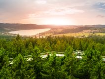 Aerial view of Lipno Dam from Treetop Walkway, Lipno nad Vltavou, Sumava National Park, South Bohemia, Czech Republic stock photo