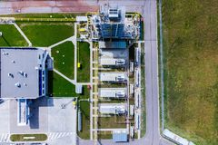 Aerial view of Liquid chemical tank terminal, Storage of liquid chemical and petrochemical products.  stock photo