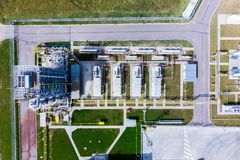 Aerial view of Liquid chemical tank terminal, Storage of liquid chemical and petrochemical products.  royalty free stock image