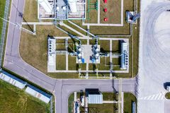 Aerial view of Liquid chemical tank terminal, Storage of liquid chemical and petrochemical products.  royalty free stock photos