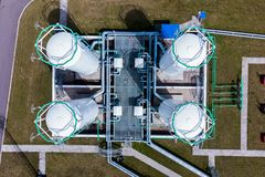 Aerial view of Liquid chemical tank terminal, Storage of liquid chemical and petrochemical products.  royalty free stock images