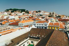 Aerial View Of Lisbon City Rooftops, Portugal stock images