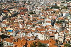 Aerial View Of Lisbon City Rooftops, Portugal royalty free stock images